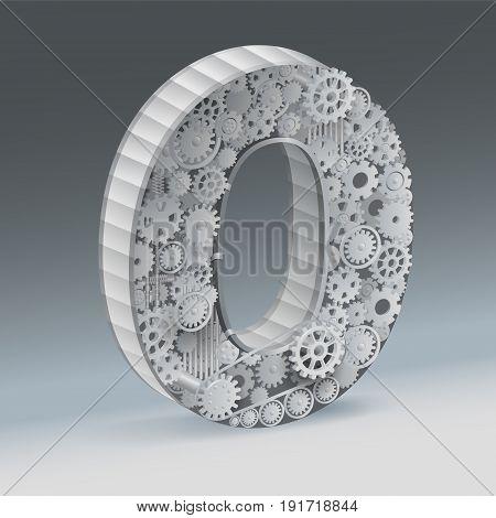 industry Zero alphabet concept of industrial business.  vector realistic.