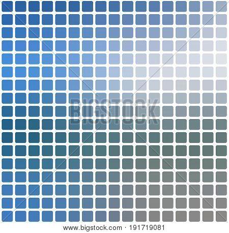 White Blue Shades Rounded Mosaic Background Over White Square