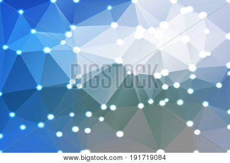 White Blue Shades Geometric Background With Lights