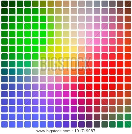 Green Blue Orange Red Rounded Mosaic Background Over White Square