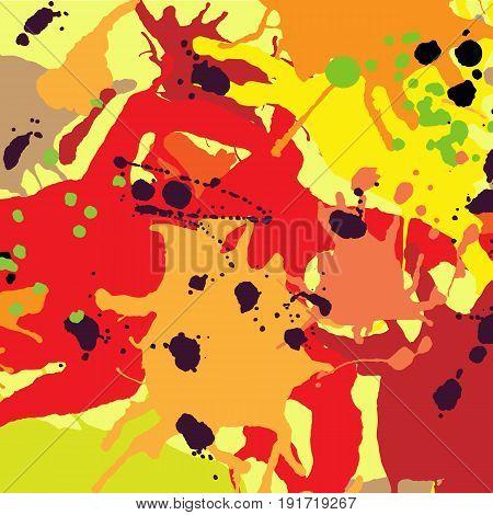Red Orange Maroon Ink Splashes Background