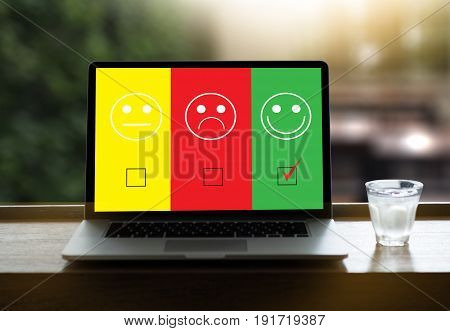 Business Man And Woman Select Happy On Satisfaction Evaluation? And Good Mood Smiley