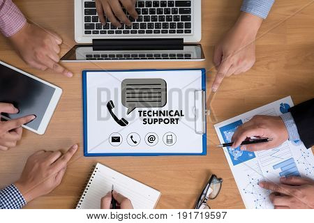 Support Technology And  Internet And Networking Businessman Team Group Concept
