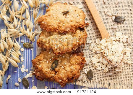 Fresh Baked Oatmeal Cookies With Ingredients For Baking, Healthy Dessert