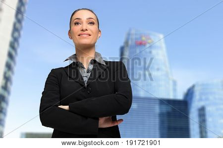 Female manager outdoor in a modern city setting