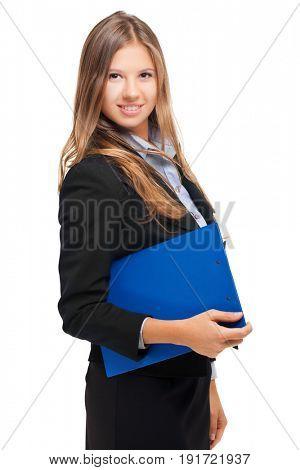 Smiling businesswoman portrait on white background