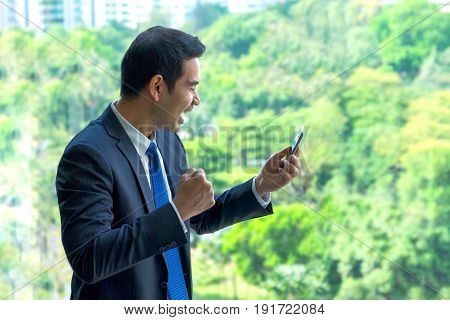 Businessman arms up and seeing good news on mobile phone at office.