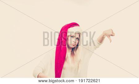 Unhappy Sad Woman Wearing Santa Claus Helper Hat
