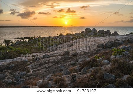 Sunset at East Woody island the famous beach of Nhulunbuy town in Arnhem land, Northern Territory, Australia.