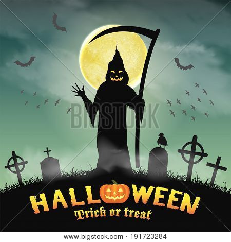 halloween silhouette grim reaper in night graveyard