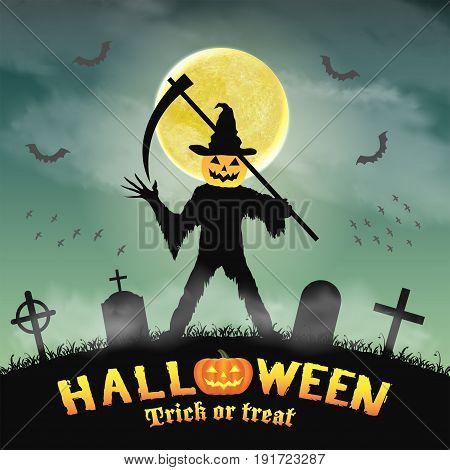 halloween silhouette pumpkin killer in night graveyard