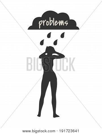Woman silhouette under stormy rainy clouds on white background. Concept illustration about sadness and depression. Problems text