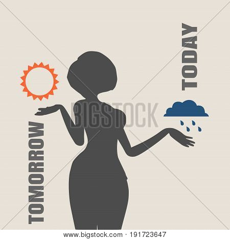 A vector illustration of a TV weather reporter at work. Weather forecast icons. Today and tomorrow words