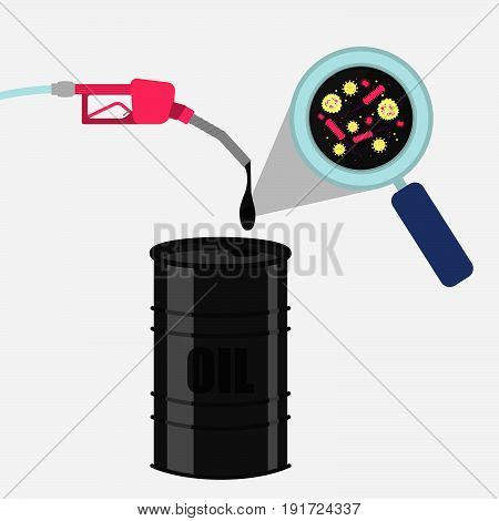 Gas pump refueling a barrel. Drop of oil magnified by a magnifying glass. Microorganisms shown in magnifying glass