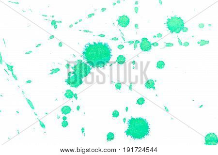 Abstract green ink splash. Ink blots. Elements of design. The water-soluble ink on white paper Leste. Abstract modern art.