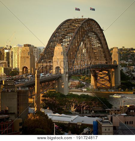 SYDNEY, AUSTRALIA, 26 APRIL 2017 - Sydney harbour bridge and opera house. Iconic and world famous landmarks of Australia