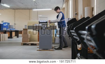 Worker and printing machine, polygraph industry, wide angle