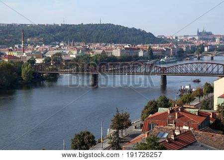 View from above (from Vyshgorod) on Vltava river and Prague.