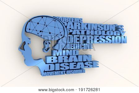 Abstract illustration of a human head with brain. Woman face silhouette. Medical theme creative concept. Connected lines with dots. Parkinsons syndrome disease tags cloud. 3D rendering