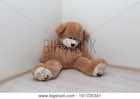 brown teddy bear sits in a corner