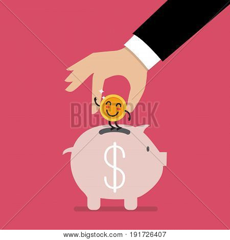 Hand insert happy coin into piggy bank. Funny cartoon emoticons