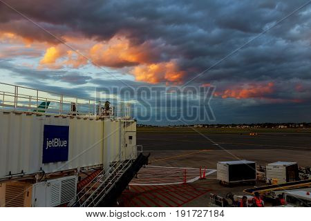 BOSTON, USA - JUNE 07.17: Terminal A of Newark Liberty International Airport in New Jersey to aircraft of Continental and JetBlue