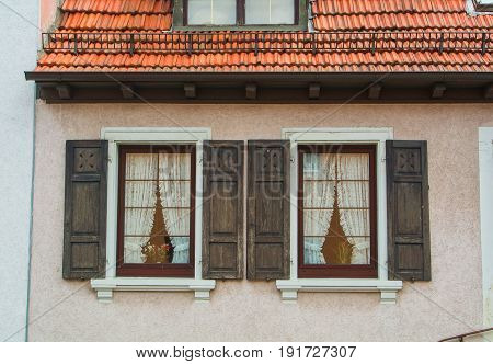 Walldorf, Germany - June 4, 2017: A Close-up Of German Village Residential House, Its Windows With O