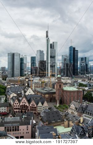 Frankfurt, Germany - June 4, 2017: Panoramic View Of The Financial District Of Frankfurt On Summer R
