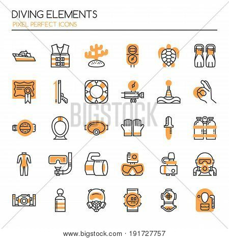 Diving Elements Thin Line and Pixel Perfect Icons