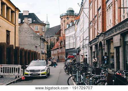 Copenhagen Denmark - August 11 2016. Police car in the streets of Central Copenhagen a cloudy day of summer