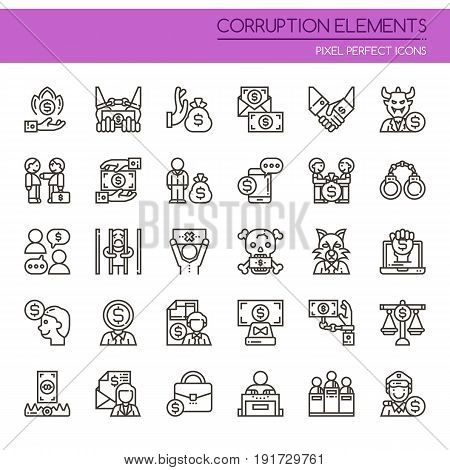 Corruption Elements , Thin Line And Pixel Perfect Icons.
