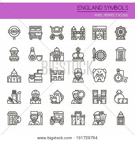 England Symbols , Thin Line And Pixel Perfect Icons.