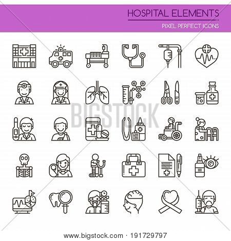 Hospital Elements , Thin Line And Pixel Perfect Icons.