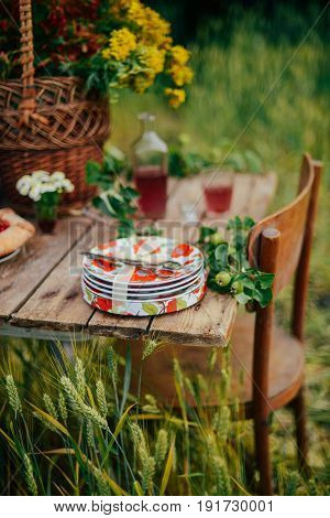 Homemade Baking. Cake With Cherries On A Table. Homemade Cherry Pie On Rustic Background. A Picnic T