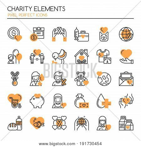 Charity Elements Thin Line and Pixel Perfect Icons