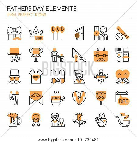 Fathers Day Elements Thin Line and Pixel Perfect Icons