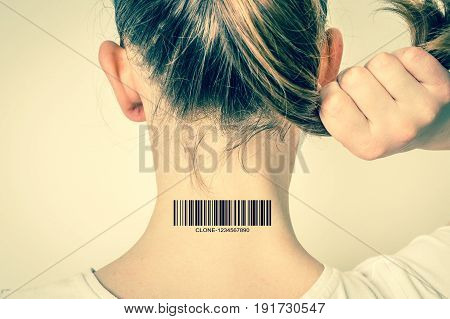 Woman With Barcode On Her Neck - Genetic Clone Concept