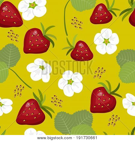 Seamless pattern, berries, flowers and leaves of strawberry on yellow background, vector illustration