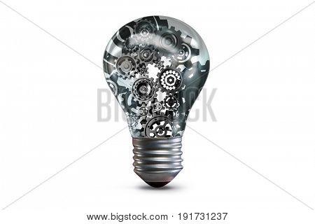 Lightbulb with complex cogwheel mechanism - 3d rendering