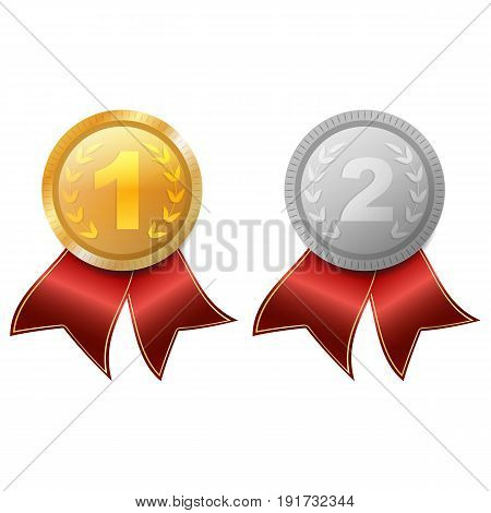 Medal. Gold And Silver. Victory. Reward. Isolated On White Background.