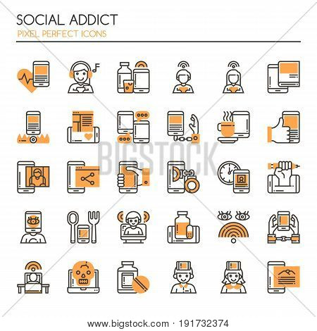 Social Addict Thin Line and Pixel Perfect Icons