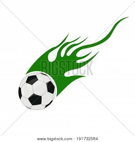 soccer ball with flames illustration on white