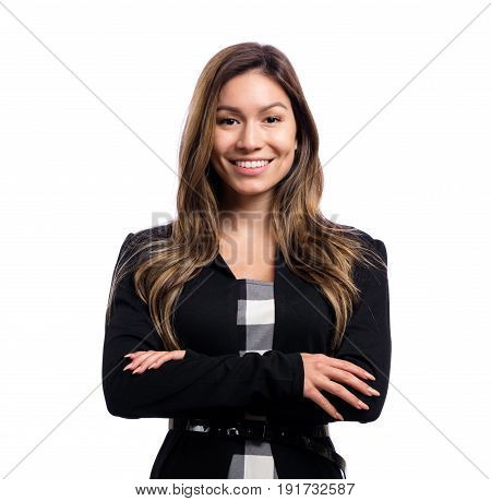 Happy young business woman on a white background
