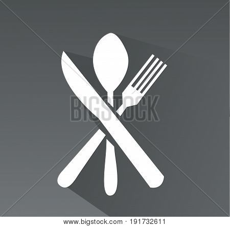 crossed fork spoon and knife icon art