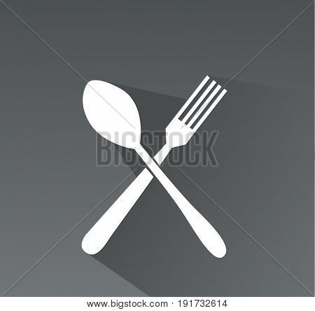 crossed fork and spoon icon illustration art
