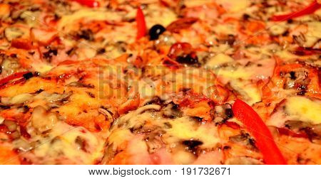 Pizza with fresh tomato salami and olives