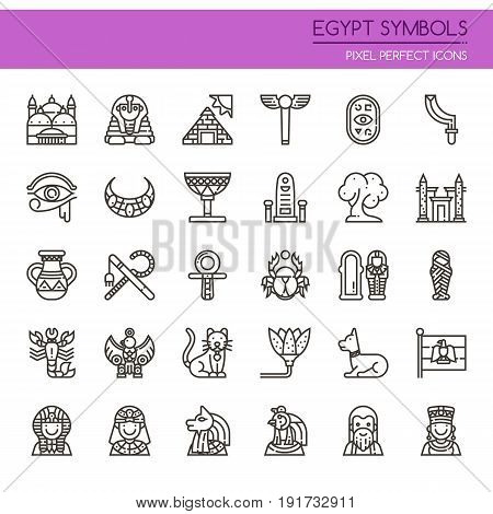 Egypt Symbols Thin Line and Pixel Perfect Icons