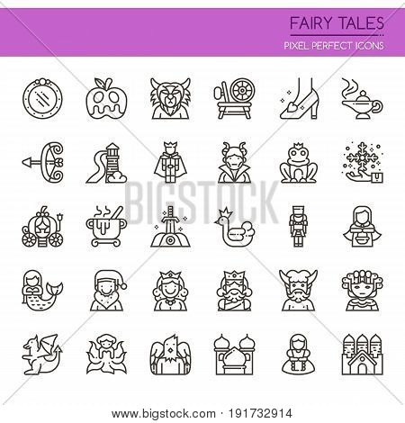 Fairy Tales Elements Thin Line and Pixel Perfect Icons