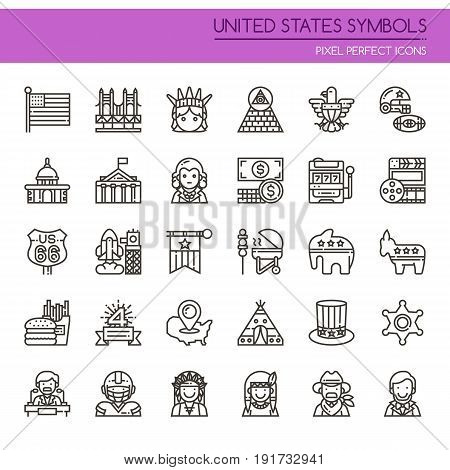United States Symbols Thin Line and Pixel Perfect Icons