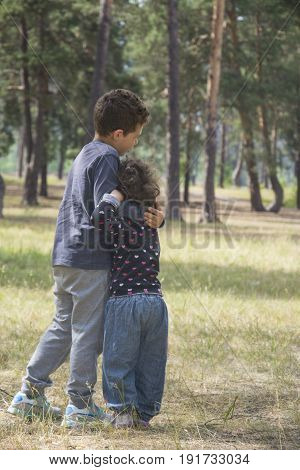 In the summer in the pine forest the elder brother comforts the little sister and embraces her.